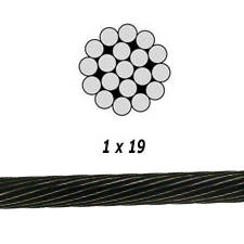 "3/16"" 1x19 Black Oxide Stainless Steel Cable"